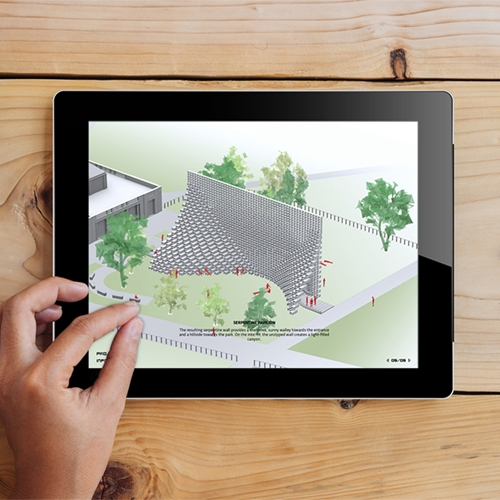 Mobile app by Studioclam explaining the new Serpentine Pavilion by BIG - Bjarke Ingels Group