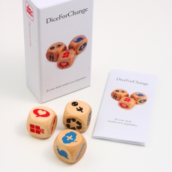 Gamble on goodness with this boxed set of three designer dice designed to help you to take better care of ourselves, to be more kind to one another and to improve the world we live in.