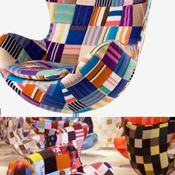 From this years 2008 Design week in Milan comes a collaboration between Fritz Hansen and artist Tal R.  50 of the Egg chairs were covered with different fabrics, one for each of the years the Egg chair has existed.