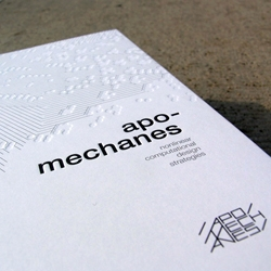 Projects designed and manufactured by studio apomechanes, with new and original articles from architects and academics who investigate computational design and its fields of application.