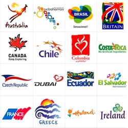 These are the tourism brands and logos from countries from all over the world.