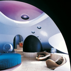 "Architect Antti Lovag's ""Bubble House"" was built in the 70's for fashion designer, Pierre Cardin. The rounded pod structures create uniquely interesting interiors."