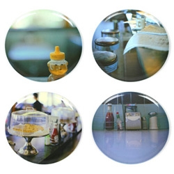 Diner life in fab photos, printed on melamine plates, ready for the order-up.  At Elsewares.