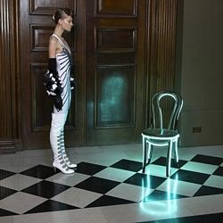 "Lee Broom's neon bistro chair from his ""Rough Diamond"" series evokes a bright future."