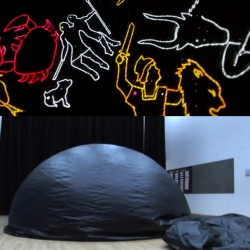 The Inflativerse, a mobile planetarium developed at the University of Nottingham designed to inflate in 5 minutes and house realistic light projections of the night sky.
