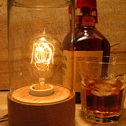 Bourbon Jar Lamp - The oak base comes from a reclaimed bourbon fermentation tank that has soaked up a lot of bourbon over the years. It is left unfinished and traces of the tank wall remain.