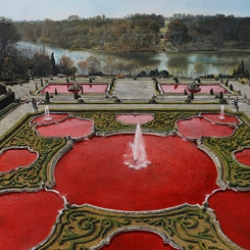 """Michael Zavros' photorealistic paintings provide a critique of the upper class. """"La Fontaine de Sang"""" shows the fountain at the Palace of Versailles filled with blood rather than water."""