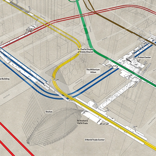 Project Subway NYC X-Ray Station Clusters - Colorful 3D drawings showing how some New York City Subway stations are connected to each other!