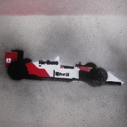 Interesting stencil art of famous F1 cars and other machines including Ayrton Senna's 1988 McLaren MP4/4. Limited prints available.
