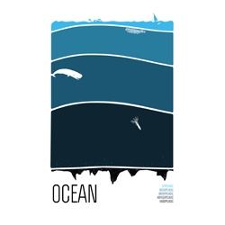 """Ocean"" is the long awaited third addition to the screen printed set that includes ""Atmosphere"" and ""Earth"". By Brainstorm Print and Design."