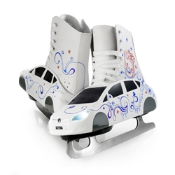 Customised car-shaped ice skates illustrated by UK artist Si Scott to promote Vauxhall Motors ice skating event