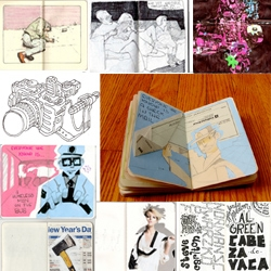 Over 2,300 photos of Moleskine sketchbooks that are participating in The Sketchbook Project, a touring exhibition.
