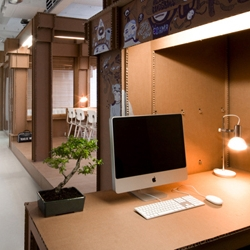 The interior of new Amsterdam creative agency, Nothing, is built almost entirely out of cardboard