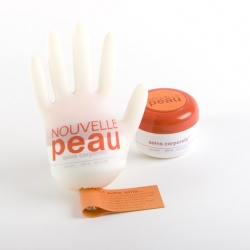 "Here's a concept developed in my packaging class by Benoît Frenette. ""Nouvelle Peau"" stands for New Skin and in this campaign, the company would give part of its profits to research for person burned to the third degree."