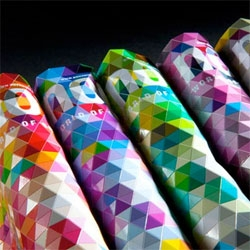 Novum Magazine Cover by Paperlux covered with 1,000 flexible colored triangles.