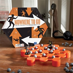 Nowhere To Go Game ~ a fun spy/strategy board game with cute packaging and design. Designed by Educational Insights and illustrated by Mattson Creative