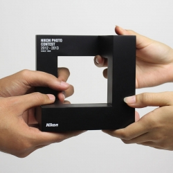 Trophy design for Nikon Photo Contest. Individually handcrafted with acrylonitrile butadiene styrene, the award trophy translated the new identity from a 2-dimensional graphic to a 3-dimensional form.