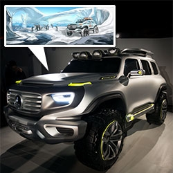 Mercedes-Benz Ener-G Force concept car. From stunning sketches (in polar, jungle, and desert scenes) to an epic teaser video... to the unveiling of the full sized model in Beverly Hills. It looks like a car for the Team Fortress/Rescue Heroes.