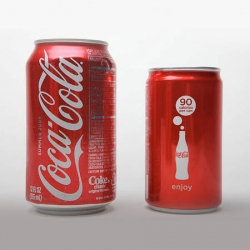 "The Coke Mini, holds less than two-thirds of a 12-ounce container, it's stamped with the loud promise, ""90 calories per can,"" instead of the usual ""Coca-Cola"" script."