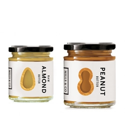 Danielle Davis's clever and simple packaging of Nut Butters for Mills & Co.