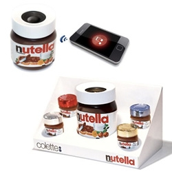 "FERRERO x COLETTE = Special set of a bluetooth/wired Nutella shaped speaker with 4 ""Nutellini"", adorable mini-jars of Nutella with colored lids"