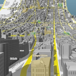 Here & There — a horizonless projection in Manhattan - uptown from 3rd and 7th, and downtown from 3rd and 35th