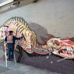 Nychos is now back in North America where he just finished working on this new signature piece on the streets of San Francisco.