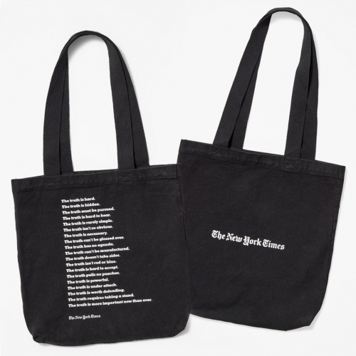 "New York Times Truth Tote Bag by Everybody.World - made of 100% bull denim cotton featuring the NYTimes ""The Truth is Hard"" campaign we love at NOTCOT."