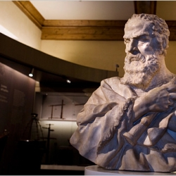The Galileo Museum in Florence, Italy includes more traditional items such as this bust, as well as more unusual displays of the scientist's bodyparts, such as his fingers.