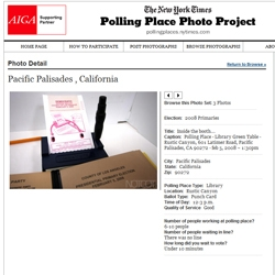 It's like notcot on the nytimes! And you could be too! The Polling Place Photo Project is fantastic.  and gives those of you with undocumented polling places an extra push out the door!
