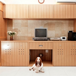 Why settle for garish pet accessories? Accommodating for their needs in our homes can have gorgeous results. Take Marco, owned by Toru Hirose, who has a hidden snack bar, restroom and nap space built into the house.
