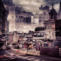 New York + London by photographer Daniella Zacman is a series of double exposures blending the cities together.