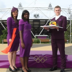 Design of costumes, flowers and podiums for the London 2012 Olympics unveiled, created by students at the Royal College of Art.