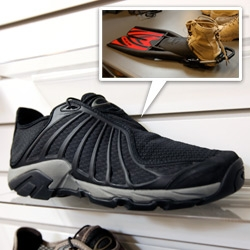 Oakley makes incredible military gear! And some of the technology, design, and research leads to new retail products... take a peek at this prototype of a new super water shoe! Dries nearly as soon as you step out of the water...