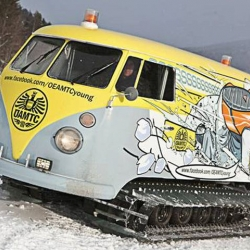 The Austrian ÖAMTC has converted this 1966 VW T1 panel van into a snowcat complete with caterpillar tracks and a DJ booth as part of their outreach program for young drivers.