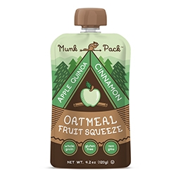 Munk Pack Oatmeal Fruit Squeezes on the go! Apple Quinoa Cinnamon, Blueberry Acai Flax, and Raspberry Coconut. Adorable logo and kid like packaging for all ages!