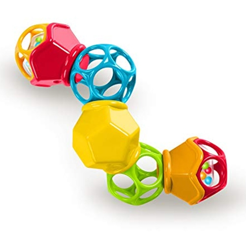 OBall Clicky Twister Easy Grasp Rattle. 5 linked dodecahedrons = baby rattle + fidget toy for all ages. Satisfying clicks and twists combined with the classic OBall slightly flexi dodecahedrons.