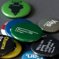 New York visual design shop Trollbäck + Company has designed four series of limited edition campaign buttons supporting Barack Obama. They're giving them away for free... while they last. Which won't be long.