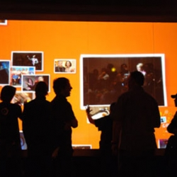 World's Largest Multi-Touch Screen: Designed by HP. The screen is 16 by 8-feet and allows multiple visitors to simultaneously control audio, video, photos and other multimedia content.