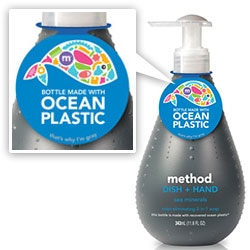 "Method has a limited edition line using ""Ocean Plastic"" - ""the world's first bottles made with a blend of recovered ocean plastic and post-consumer recycled plastic, a combination that results in a uniquely gray resin."""