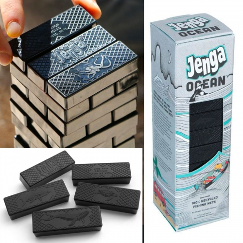 Bureo Jenga Ocean - Each game is made from over 25 square feet of fishing nets proudly sourced through Bureo's Net Positiva recycling program. Artwork by Lake Buckley.