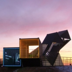 Oceanscope by AnL Studio: 2 tilted containers to contemplate the waterfront of Song-do, Incheon, South Korea.