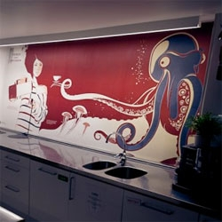 Beautiful, playful octopus/woman/tea cup wallpapering in the North Kingdom Kitchen!
