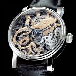 Beautifully intricate Kudoke KudOktopus Engraved Watch