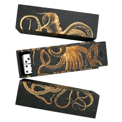 Iron and Glory Double-Six Octopus Domino Set. Box features a laser engraved octopus which wraps 3 sides.