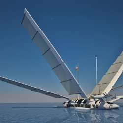A sailing yacht that can transform into a plane thanks to its four mobile masts....