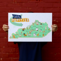 Kentucky Oddities. New print by Rachael Sinclair celebrating Kentucky's awesome roadside attractions.