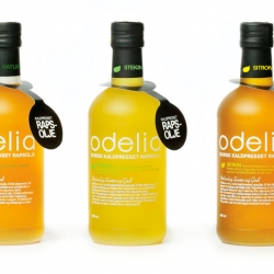Nicely designed bottles for Norwegian rapeseed oil. The brand is called Odelia and the design is by Panoramadesign.