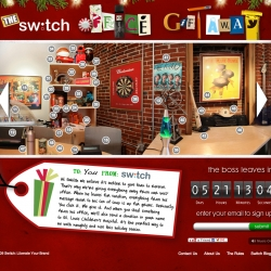 St. Louis agency, Switch, gives away their boss' office for charity at Office Gift Away. Everything from his massage chair to his can of soups is up for grabs. Users can window-shop now, but must wait until he leaves before they can steal something.
