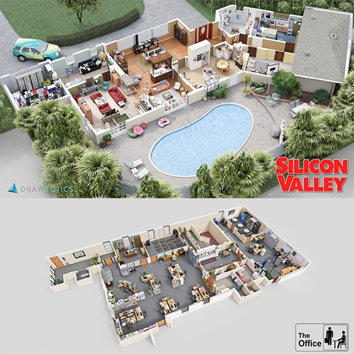 "Drawbotics ""Your Favorite TV Shows Brought To Life With Amazing 3D Floor Plans"" - fun to see everything from Brooklyn Nine-Nine and Office Space to Parks and Recreation, Mad Men, Suits, Silicon Valley and more."